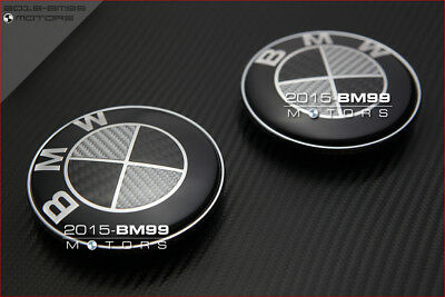 2 x 82mm 78mm BMW Black White Carbon Front Back Hood Trunk Emblem Badge