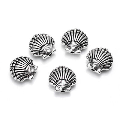 10pcs/lot Antique zinc alloy silver plated sea shell charm strand space Beads
