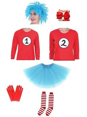 Adult Kids Thing 1 & 2 Costume Dr Seuss Costume Cat In the Hat Costume Book Week