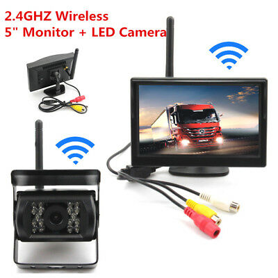 """Wireless Parking Reverse 5"""" Camera and Rearview Mirror Monitor Kit For BUS Truck"""