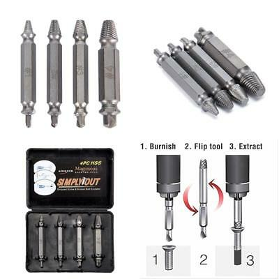 4 Pack Grab-It Extractor Set Universal Damaged Screw Extractor Kit Bolt Remover