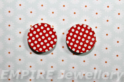 2 x Red with White Polka Dots Wooden Laser Cut Flatback 16x16mm Cabochon