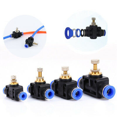 4/6/8/10/12 mm Air Flow Speed Control Valve Tube Hose Pneumatic Push In Fittings