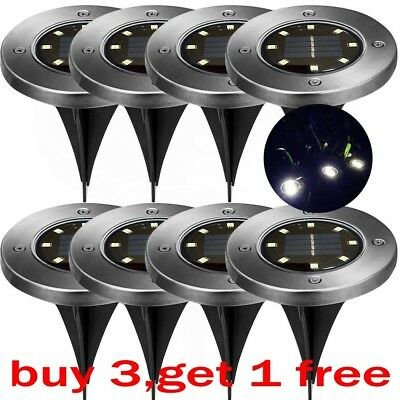 8LED Solar Power Disk Lights Buried Light Outdoor Under Ground Waterproof Lamp
