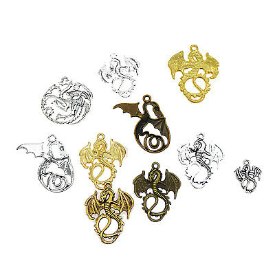 10Pcs/Lot Mixed Colors Flying Dragon Shape Pendants Charms for Jewelry Making