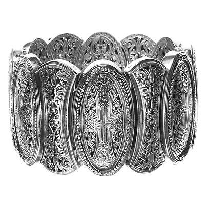 Gerochristo 6352 ~Sterling Silver Medieval-Byzantine Large Bracelet with Crosses