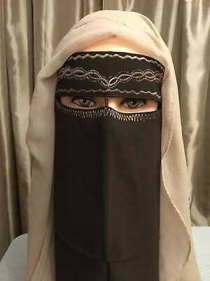 Saudi two Layer Brown Embroid Niqab Burqa Islamic Face Cover Veil Muslim USA Sel