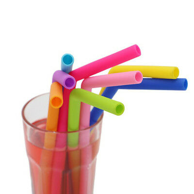 6x Eco Food Grade Silicone Drinks Straw Reusable & Straw Cleaner for All Parties