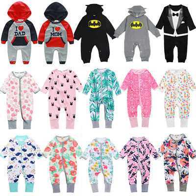 Newborn Baby Boy Girl Jumpsuit Babygrow Sleepsuit Romper Bodysuit Clothes Outfit