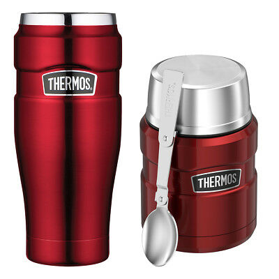 Thermos Vacuum Insulated Stainless Steel Travel Tumbler And Food Jar 16oz (Red)