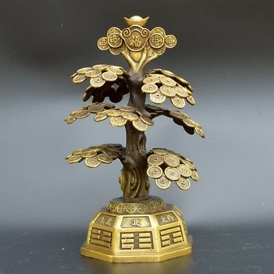 Chinese old collection handwork bronze Eight Diagrams Money Tree Statue