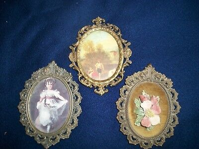 Lot of 3 Italian Antique Ornate Brass Oval Flora Scene Picture Frames Italy