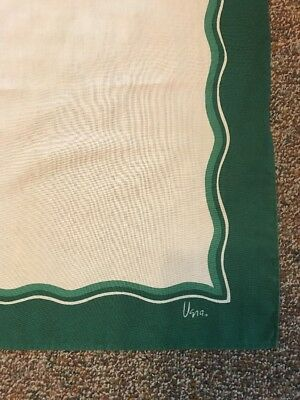 """NWOT UNUSED Vintage VERA 50""""x68"""" Rectangle TABLECLOTH Ivory With Green Border"""