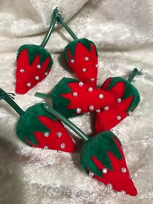 Vintage Miniature Sewing Strawberry Pin Cushions / Lot Of 6