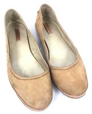2a9e8559e976 Frye Womens Shoes Ballet Flats Beige Leather Suede Size 10 Round Toe Slip On