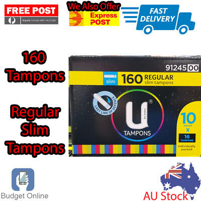 160 x Regular Slim Tampons U By Kotex 16 Tampons x 10 Packs Individually Packed