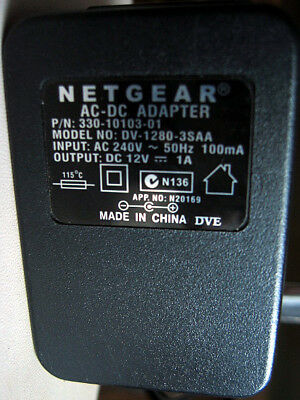 NETGEAR 12V 1000mA 1A Power Supply AC DC 12VDC DV-1280-3SAA 330-10103-01 12VDC