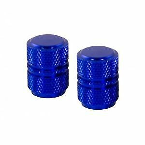 Bike It Motorcycle Tyre Pair Round Blue Anodised Valve Caps BC6313 - T