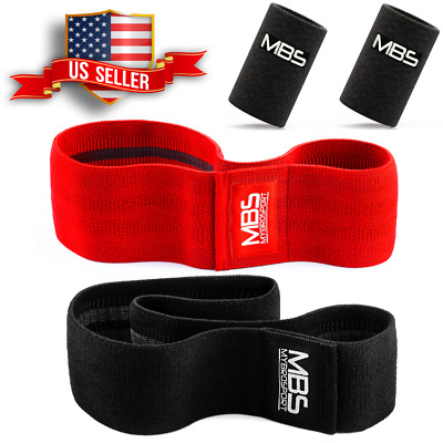 Wide Hip Resistance Bands Loop Circle Exercise Workout Fitness Yoga + Wristband