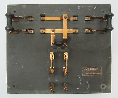 Antique Cuthbert Electric Circuit Knife Switch Board Frankenstein Slate Copper