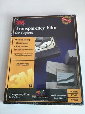 "3M PP2500 100 SHEETS Transparency Film For Copiers  8 1/2"" x 11""  New"