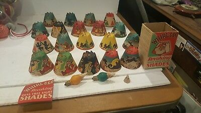 Antique Boxed Set of 18 Whirl Glo Spinners Christmas Shades 3 tips two mazda