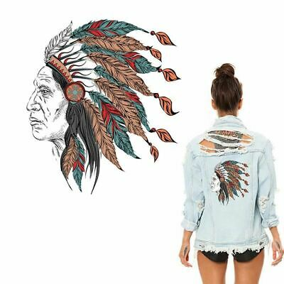 Heat Transfer Stickers Jeans Pyrography Skull Indians Patches for Clothing Press