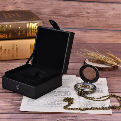 black leather display case single pocket watch jewel chain storage gift box RD