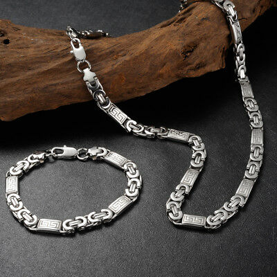 2018 Mens 316L Stainless Steel Silver Bracelet+Necklace Chain Set Jewellery 60cm