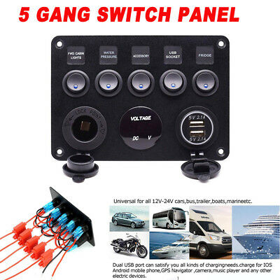 5 Gang ON-OFF Toggle Switch Control Panelfor Car Boat 2 USB Charger 12V Blue LED