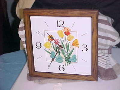 "Vintage Seth Thomas Square Wall Clock ""Dutch Garden"" dated 1978 working order"