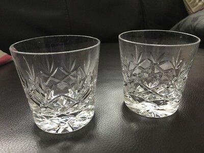 Stuart Crystal Diana Whisky Pattern Old Fashioned Tumbler Pair Lovely