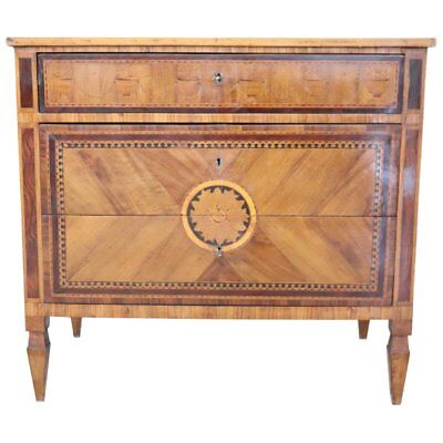 18th Century Italian Louis XVI Inlay Wood Chest, Dresser