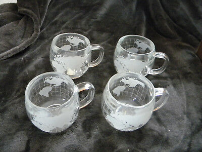 Vintage Nestle World Globe Atlas Frosted Etched Glass Coffee Cup Mug Set of 4