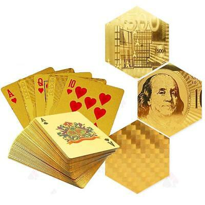24K Gold Foil Plated Cover Plastic Poker Set 54 Playing Cards Deck Table Game LM