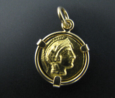 c736 Athena Virgin Goddess of Wisdom Pendant/ Charm in 14k Yellow Gold