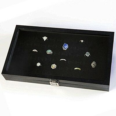 72 Slot Display Case Glass Top Ring Display Showcase With Velvet Insert Liner
