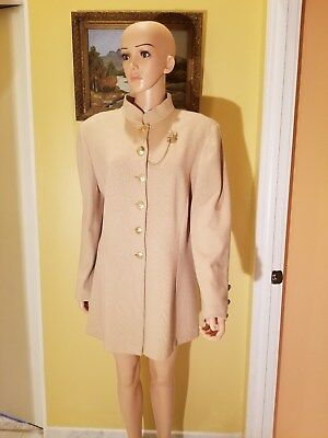St. John Collection By  Marie Gray Beige Santana Knit Suit Jacket,size14