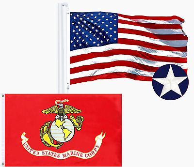 Wholesale LOT | USA 2x3ft SINGLE Embroidered & USMC 2x3ft DOUBLE SIDED Emb Flag