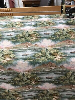 "Lake George Tapstry Upholstery Fabric 54"" By The Yard,cabin,lake scenic view"