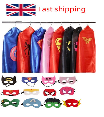 Adult Superhero Cape and Mask Men Women Fancy Dress Costume Stag Hen Party Night