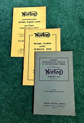 1959-1960 Norton 250 Jubilee Motorcycle Owners Instruction Manual & Parts Book