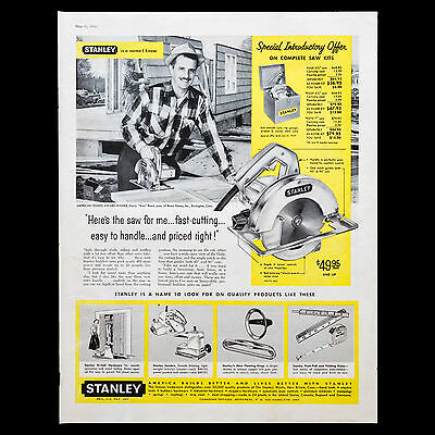 1959 STANLEY TOOLS Power Saw yellow vintage print ad large magazine