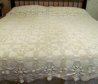 """Vintage Hand Crocheted 92"""" x 90"""" Table Cloth and/or Bedspread"""