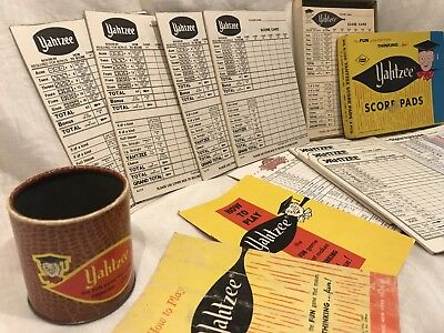 Vintage 1956 Yahtzee Game Lot Score Cards Cup Booklets Triple Pieces