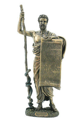"Ancient Greek Hippocrates Holding Medical Oath 13.5/8""  Cold Cast Bronze Statue"