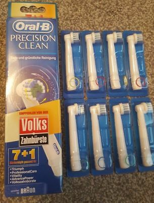8 x Braun Oral-B Precision Clean Electric Replacement Toothbrush Heads