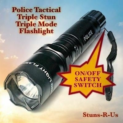 Stun Gun Police 980 MV Rechargeable LED Flashlight Taser Case 4.5 Milliamps