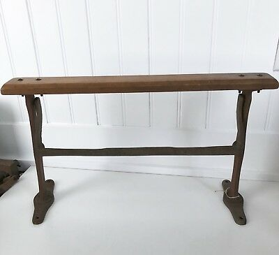 """Antique Paper Roll Dispenser Cutter Primitive 15"""" Country Store Iron & Wood"""