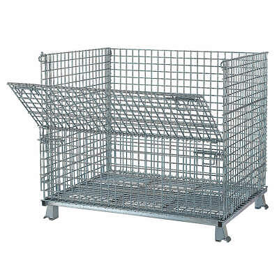 NASHVILL Steel Wire Mesh Collapsible Container,48 In W,Silver, C404836S4, Silver